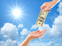 przekazywanie pieniędzy z ręki do ręki